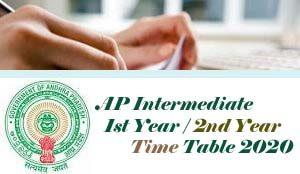 AP Intermediate Exam Time table 2020, AP Inter 1st Year / 2nd Year Time table 2020, AP Inter Time table 2020