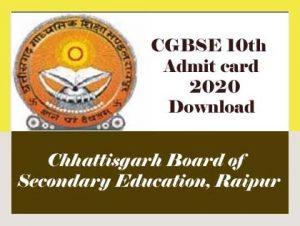 CG Board 10th Admit card 2020, CGBSE 10th Admit card 2020, CG 10th Admit card 2020, CG Board Admit card 2020