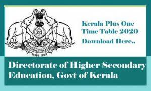 Kerala Plus One Time table 2020, Kerala Plus One Public Exam Time table 2020, Kerala DHSE Time table 2020