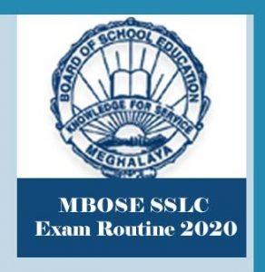 MBOSE SSLC Routine 2020, MBOSE Class 10 Routine 2020, MBOSE SSLC Exam Routine 2020, MBOSE Routine 2020