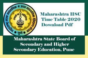 Maharashtra HSC Time table 2020, Maharashtra 12th Time table 2020, HSC Time table 2020 Maharashtra, 12th Time table 2020 Maharashtra