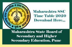 Maharashtra SSC Time table 2020, Maharashtra SSC Board Time table 2020, SSC Board Time table 2020 Maharashtra, Maharashtra 10th time table 2020