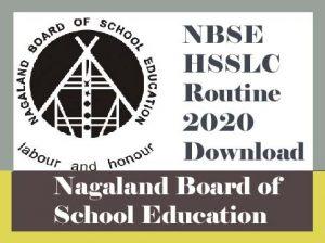 NBSE HSSLC Routine 2020, HSSLC Routine 2020 Nagaland, NBSE Exam Routine 2020, NBSE Routine 2020 Class 12