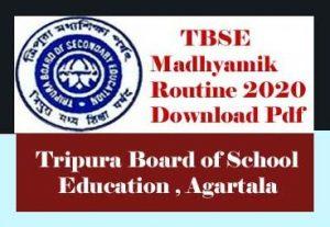 TBSE Madhyamik Routine 2020, Tripura Madhyamik Exam Routine 2020, TBSE Madhyamik Exam Routine 2020, TBSE Routine 2020