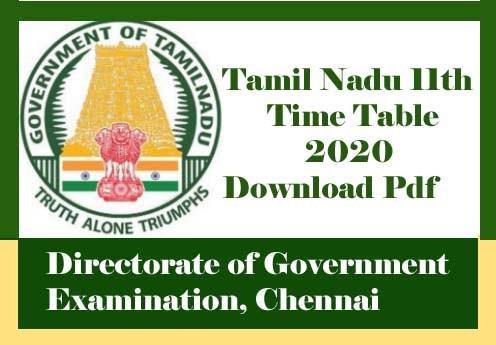 Tamil Nadu 11th Time table 2020, 11th Exam Time table 2020 TN Pdf
