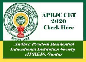 APRJC 2020, APRJC CET 2020, APRJC 2020 Notification, Exam date, Online Application form