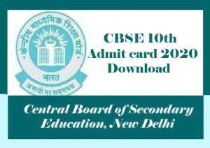 CBSE 10th Admit Card 2020, CBSE 10th Hall ticket 2020, CBSE Admit card 2020, CBSE 10th Admit card 2020 Download, CBSE Admit card 2020 Class 10