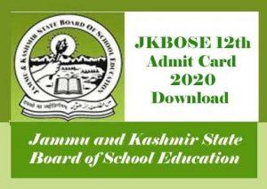 JKBOSE 12th Admit card 2020 Download, JKBOSE 12th Class Roll Number Slip 2020
