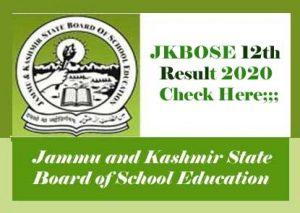 JKBOSE 12th Result 2020, JKBOSE Annual 12th Result 2020, JK Board 12th Result 2020