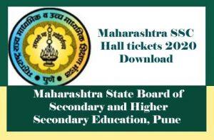 Maharashtra SSC Hall ticket 2020, Maharashtra SSC Board Hall ticket 2020