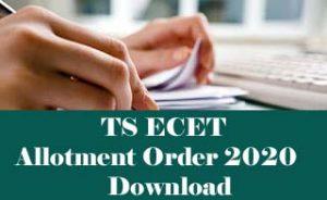 TS ECET Allotment order 2020, TS ECET Seat Allotment 2020, TS ECET Allotment order 2020
