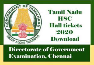Tamil Nadu 12th Hall ticket 2020 Download, 12th Hall ticket 2020 Tamil Nadu