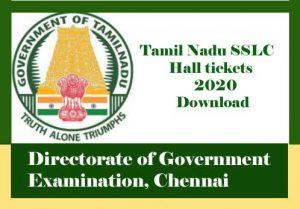 Tamil Nadu SSLC Hall ticket 2020 Download, SSLC Hall ticket 2020 Tamil Nadu
