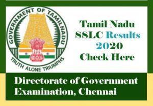 Tamil Nadu SSLC Result 2020, SSLC Result 2020 Tamil Nadu, TN 10th Result 2020