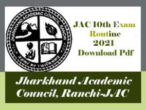 JAC 10th Exam Routine 2021 PDF, JAC Matric Routine 2021